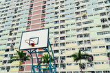 The colorful basketball court of the Choi Hung Estate in Hong Kong