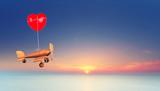 romantischer Flug in den Sonnenuntergang
