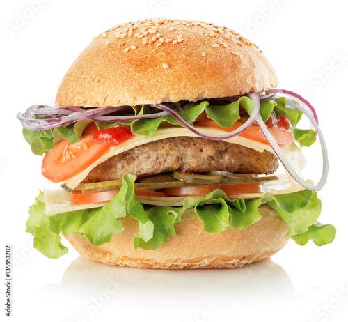 Fotobehang Restaurant burger isolated on the white background