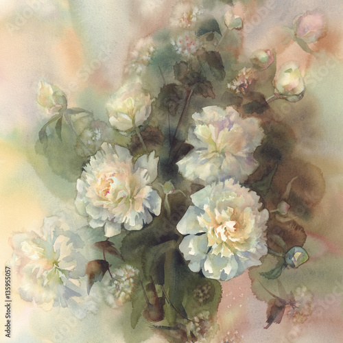 bouquet of white peonies watercolor - 135955057