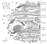 Set of different types of fish and fish seasoning for menus, recipes and designs. Black line drawings of edible fish, served in coastal or maritime restaurants. Vector, isolated on background.