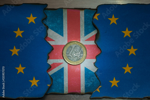 Poster European union and United kingdom brexit flag concept background
