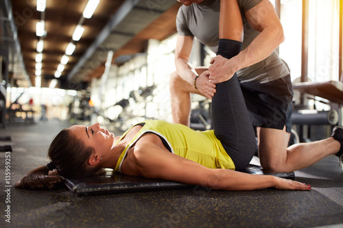 Woman doing exercise for legs