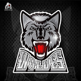 Beast front head with bared teeth. Logo for any sport team wolves