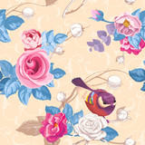 Fototapety Floral seamless pattern with colorfull bunches of roses and cute blue bird on background. Vector illustration in retro style for wallpaper, textile print, wrapping paper