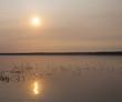 Bright sun on Dore Lake