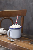 Hot chocolate cup with marshmallows.