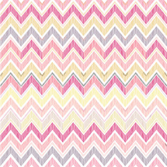 Abstract geometric seamless pattern. Fabric doodle zig zag line background