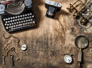 Vintage typewriter photo camera still life flat lay
