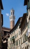 Historic city Siena with tower Torre del Mangia, Tuscany, Italy