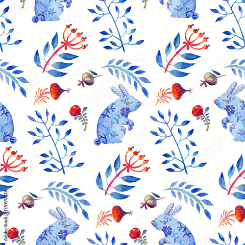 Materiał do szycia Cute Lovely watercolor seamless floral spring tile with hares and leaves, berries and rose hips. Colorful animal Pattern Perfect for a happy Easter and textiles.
