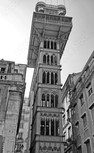 Lisbon elevador de Santa Justa, Baixa (Portugal) Black and white - 135980052