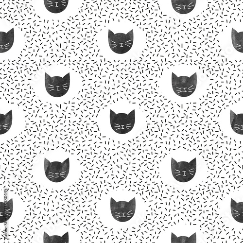 Materiał do szycia Seamless fashion pattern with cute black cats. Vector dots background.