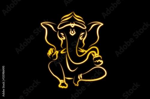 Plakát hindu ganesha draw on black  background