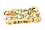 California rolls sushi on white background