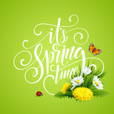 Spring Hand Lettering on background with flowers. Vector illustration