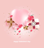 Heart and gift box background. vector background.