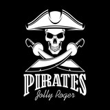 Jolly Roger in tricorne hat pirate vector poster