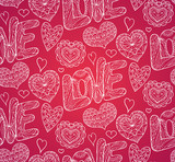 Seamless festive texture with doodle hearts and love inscription. Vector pattern for your creativity