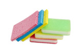 Different synthetic cleaning sponges on a light background - 136002842