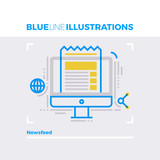 Newsfeed Blue Line Illustration.