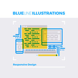 Responsive Design Blue Line Illustration.