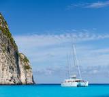 White catamaran in the Blue Lagoon - 136007643