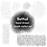 Dotted hand drawn abstract vector brush set