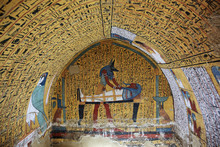 "Постер, картина, фотообои ""Wall painting and decoration of the tomb: ancient Egyptian gods and hieroglyphs in wall painting """