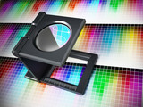 Printing loupe on color chart. 3D illustration