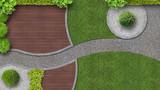 Gartenanlage von oben gesehen - 136017806