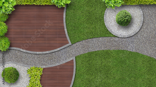 Plexiglas Diepbruine Gartenanlage von oben gesehen