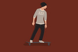 Cool vector hipster man character on skateboard. Cartoon