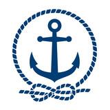 Icono plano ancla con circulo de cuerda azul en fondo blanco