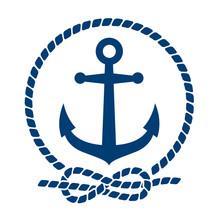 Icono Plano Ancla Con Circulo De Cuerda Azul En Fondo Blanco Sticker