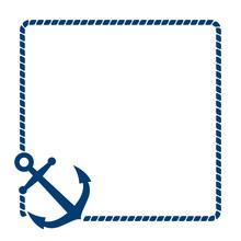 Icono Plano Ancla Con Marco De Cuerda Azul En Fondo Blanco Sticker