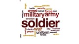 Soldier animated word cloud, text design animation.