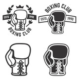 Set of boxing club emblems templates isolated on white backgroun