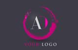 AD Letter Logo Circular Purple Splash Brush Concept.
