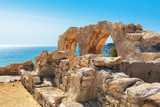 Limassol District, Ruins of Greek ancient arches in Kurion, Cyprus.