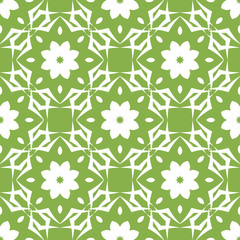 Seamless pattern with geometric rhythmic ornament in trendy green coloring. Retro Wallpaper. Vintage background.