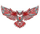Hand drawn vector doodle owl illustration.