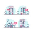 Set of urban and suburban houses. Real estate concept. Vector illustration.