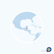 Постер, плакат: Map icon of Belize Blue map of Central America with highlighted Belize