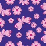 Flowers and butterflies on dark. Seamless pattern. Composition for textile, tapestries, festive decorative packaging, cover art, website background.