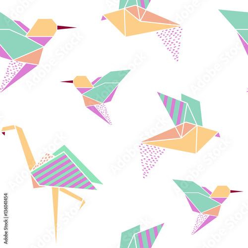 Origami birds seamless pattern. - 136041454