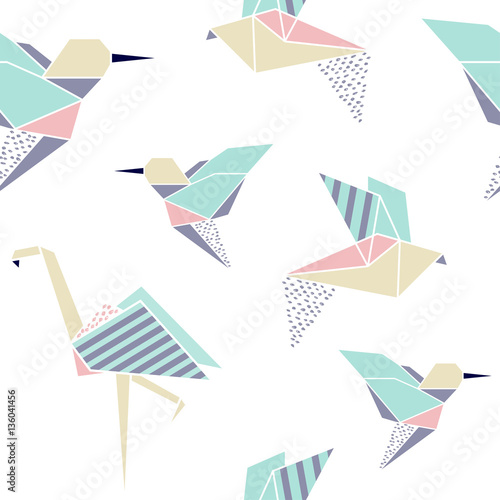 Origami birds seamless pattern. - 136041456