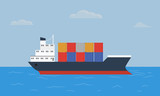 Cargo container ship transports containers at the blue ocean. - 136043614