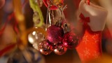 New Year colorful decorations.Beautiful Christmas ornaments.