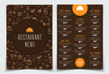 brown and orange Template with drawings of hands and logo.